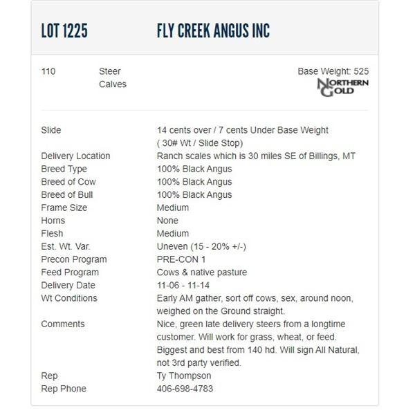Fly Creek Angus Inc - 110 Steers; Base Weight: 525