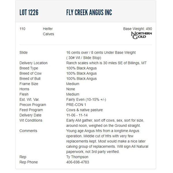 Fly Creek Angus Inc - 110 Heifers; Base Weight: 490