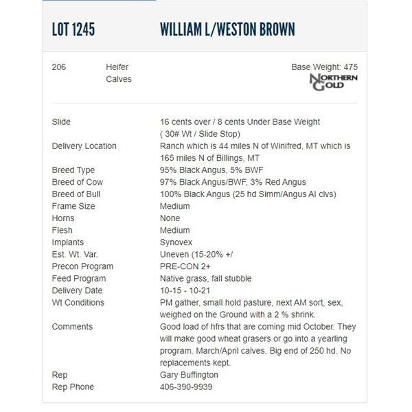 William L/Weston Brown - 206 Heifers; Base Weight: 475
