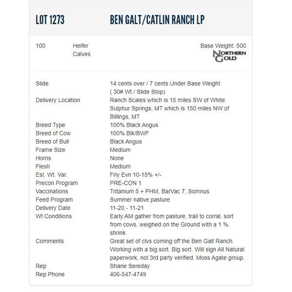 Ben Galt/Catlin Ranch LP - 100 Heifers; Base Weight: 500