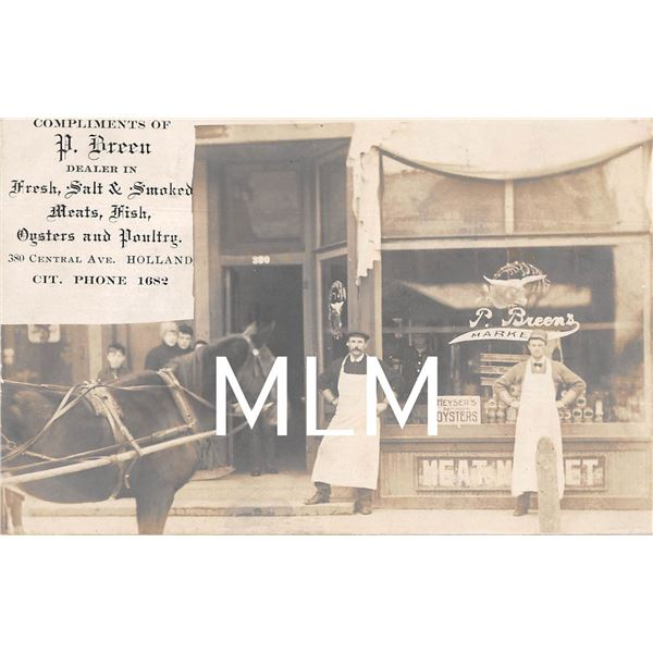 Breen Market Front Meat Market & Oysters Holland, New Jersey Photo Postcard