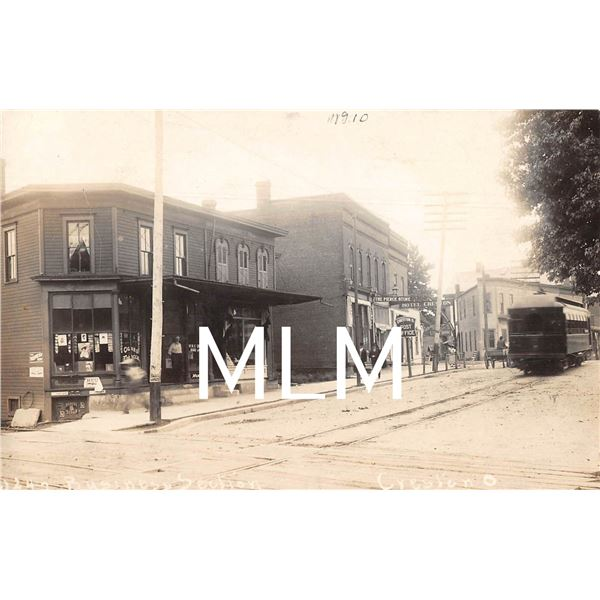 Post Office Store Front Moxie Sign & Trolley Creston, Ohio Photo Postcard