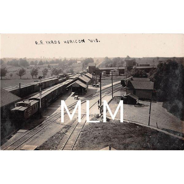 Railroad Yards Train Depot Horicon, Wisconsin Photo Postcard