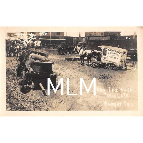 Abiline Steam Laundry Wagon Stuck in mud Ranger, Texas Photo Postcard