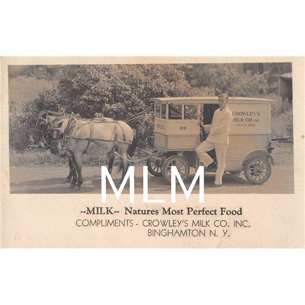 Crowley's Milk Co. Inc. Delivery Wagon Binghamton, New York Photo Postcard
