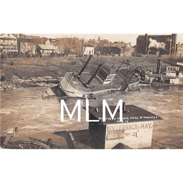 Disaster to Steamer Jewell Marietta, Ohio Photo Postcard
