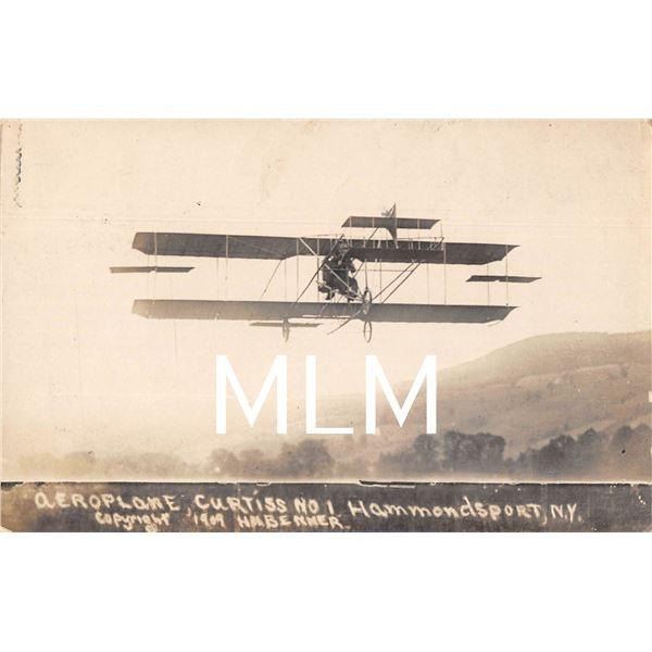 Aeroplane Curtiss No. 1 Hammondsport, New York Photo Postcard