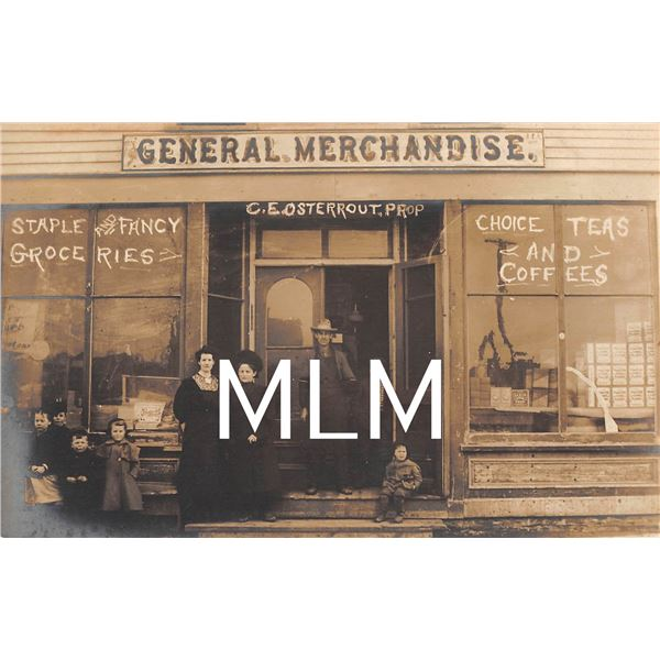 2 Store Front C.E. Osterrout Grocery Store Michigan Photo Postcards