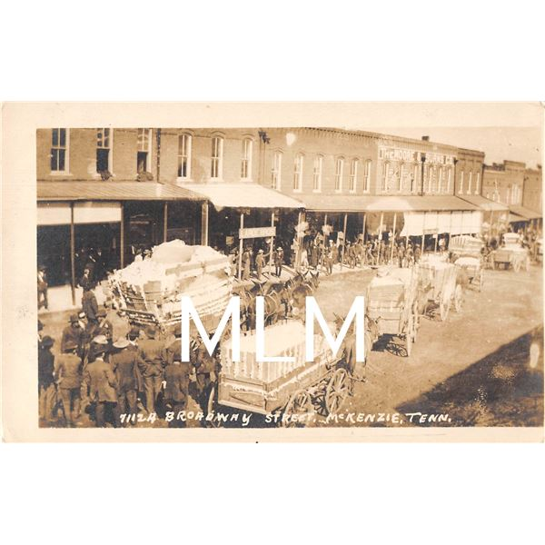 Cotton Wagons on Broadway St. McKenzie, Tennessee Photo Postcard