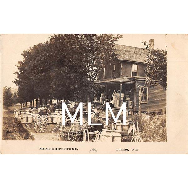 Milk Wagons Mumford's Store Tunnel, New York Photo Postcard