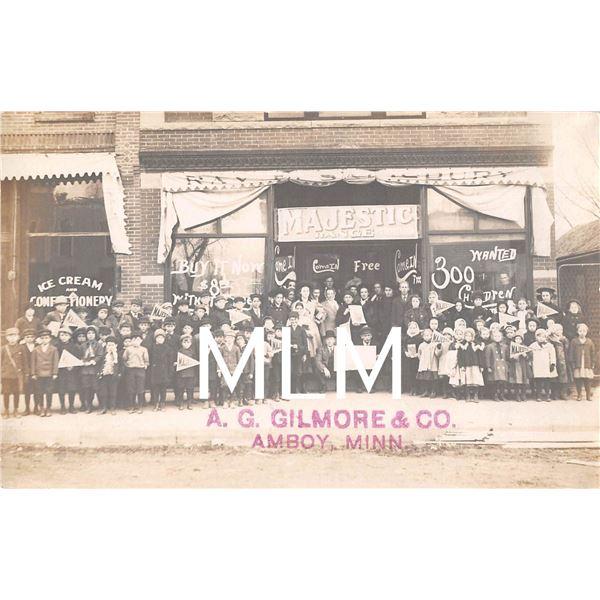 Ice Cream Shop & Majestic Range Store Front Amboy, Minnesota Photo Postcard