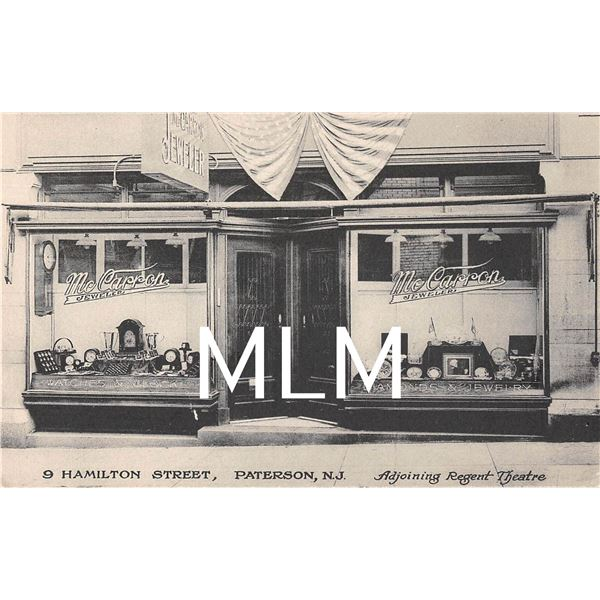 McCarron Jewelry Store Front Paterson, New Jersey Postcard
