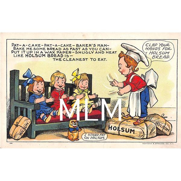 Set of 6 Children Holsum Bread Greeting Postcards