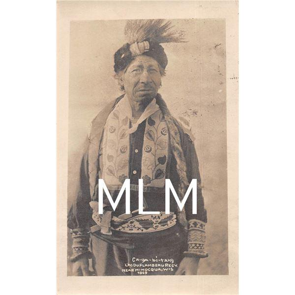 Native American Indian Lac Du Flambeau Resv. Ninocqua, WI Photo Postcard
