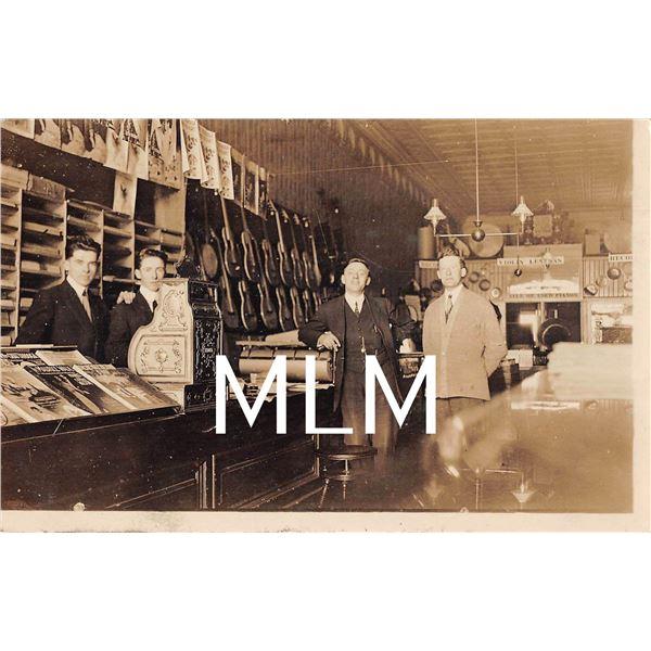 Interior Music Store Counter Guitars, Phonographs Shown Photo Postcard