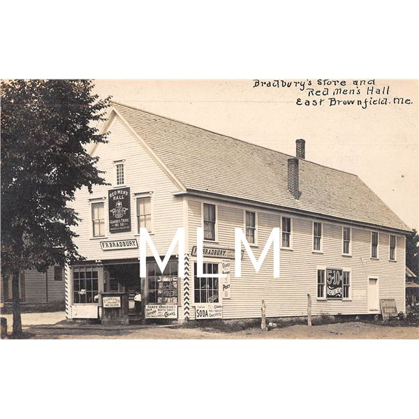 Bradbury Store Ft. Moxie, Soda Cigars & Scales E. Brownfield, ME Photo Postcard