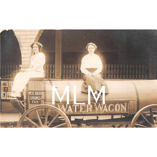 Ladies on Water Wagon West Baden Springs, Indiana Photo Postcard
