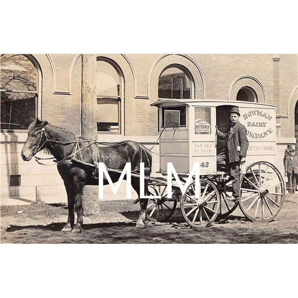 Bowman Dairy Co Delivery Horse Drawn Wagon Photo Postcard
