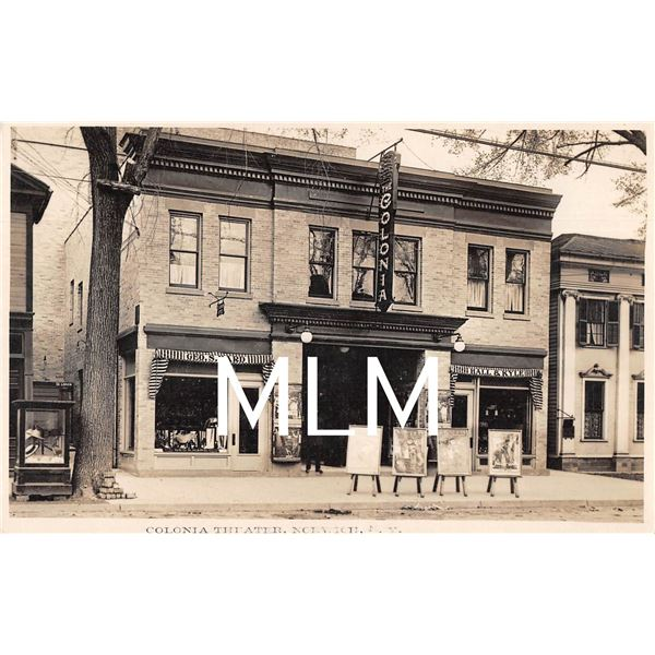 Colonia Theater & Movie Signs Store Front Norwich, NY Photo Postcard