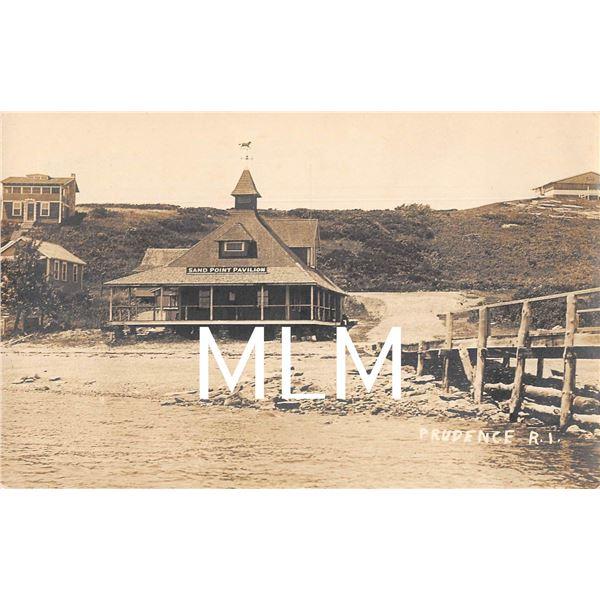 Sand Point Pavilion Prudence, Rhode Island Photo Postcard