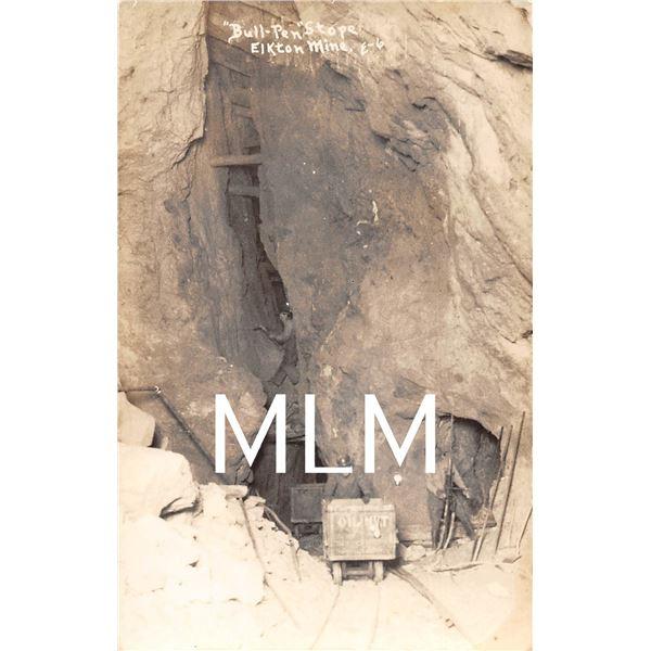 """Bull-Pen"" Mine Interior Elkton, Colorado Photo Postcard"