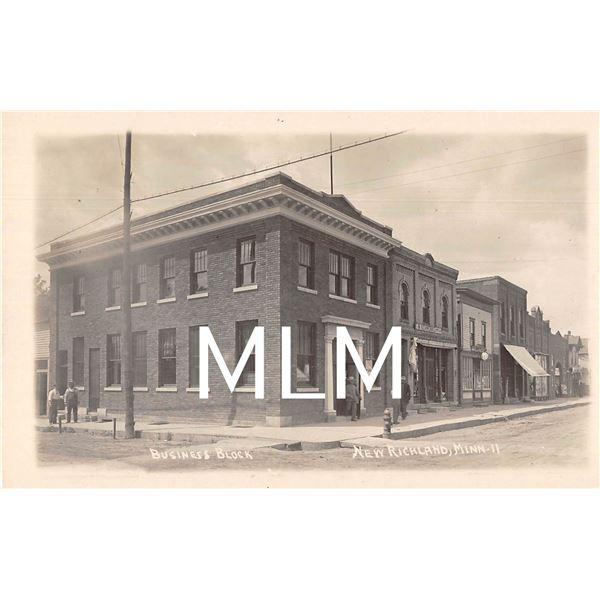 Bank, Jewelry Store & Theater Fronts New Richland, Minnesota Photo Postcard
