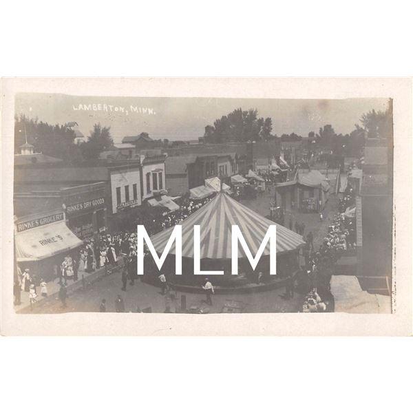 Merry Go Round Amusement in Streets Lamberton, MN Photo Postcard