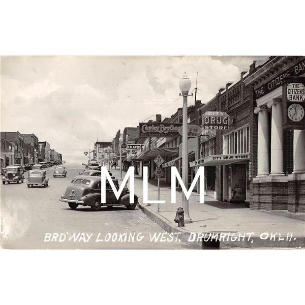 Bank, Drug & Store Fronts Drumright, Oklahoma Photo Postcard