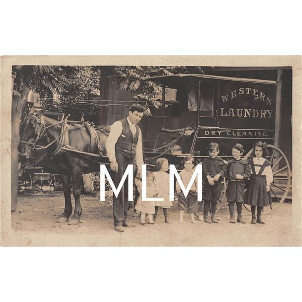 Western Laundry Dry Cleaning Delivery Wagon Man & Children Photo PC