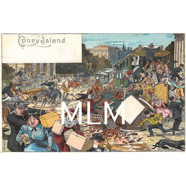 Coney Island, New York Disaster in the Street Art Postcard