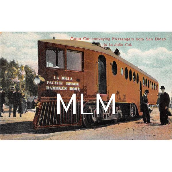 Motor Car Conveying Passengers From San Diego to La Jolla, California Postcard