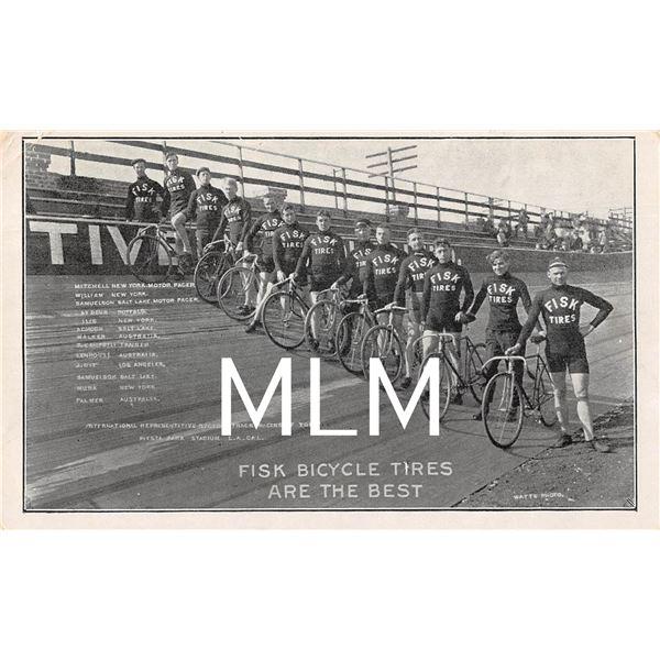 Fisk Bicycle Tires Advertising Racing Team Black & White Postcard