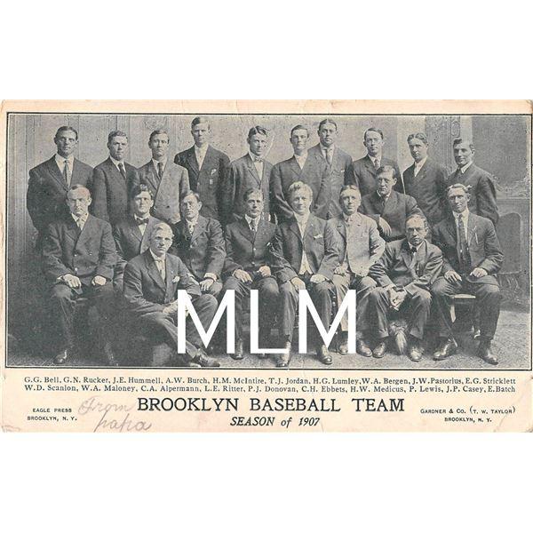 1907 Brooklyn Baseball Team Postcard Showing C.H. Ebbets