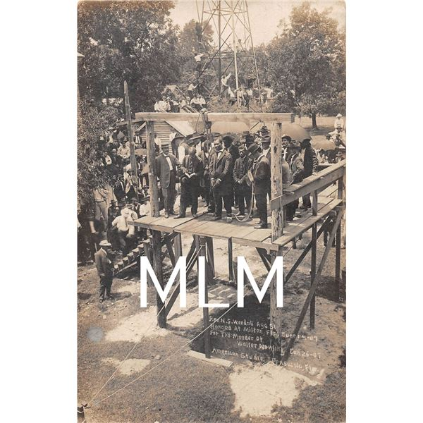 Milton, Florida Hanging Rev. Wuedall June 14, 1907 Photo Postcard