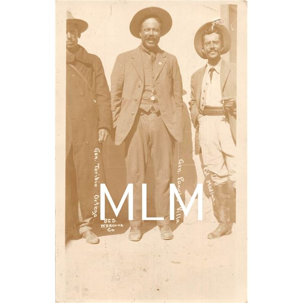 Gen. Poncho Villa, Gen. Ortega & Col. Medina Mexican War Photo Postcard