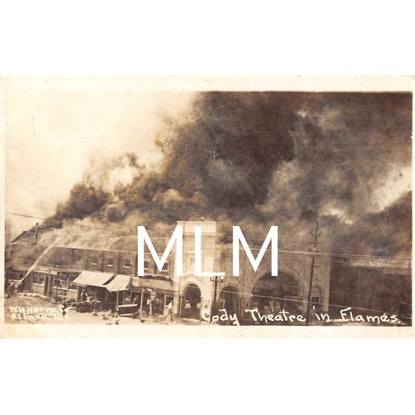 Cody Theatre in Flames New Mexico Horne Co. Photo Postcard