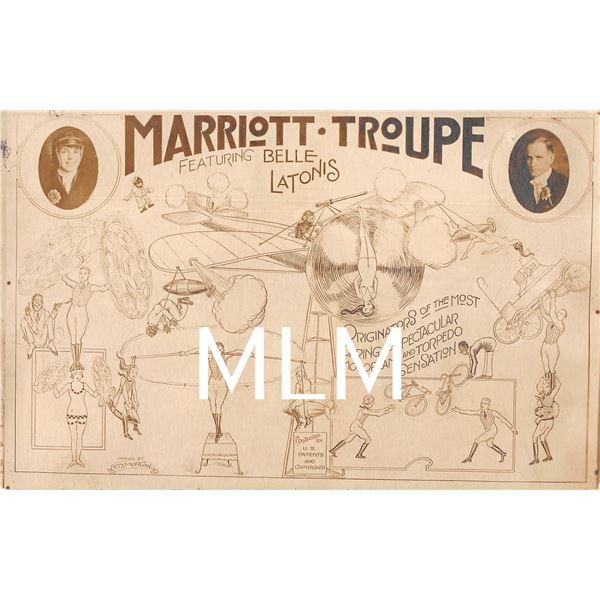 Circus Act Marriott Troupe Monoplane & Torpedo Sensation Photo Postcard