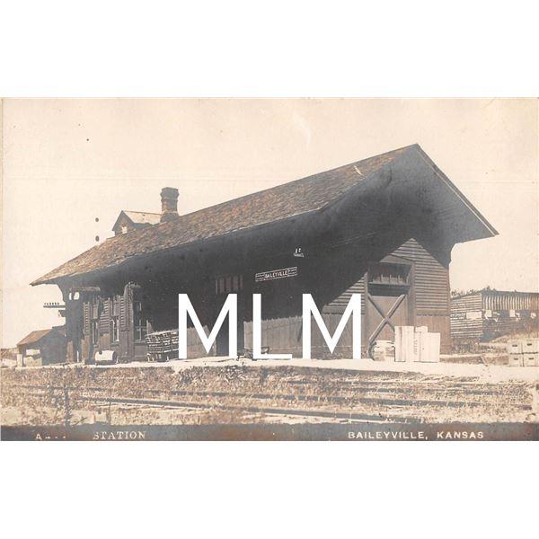 Train Station Depot Baileyville, Kansas Photo Postcard