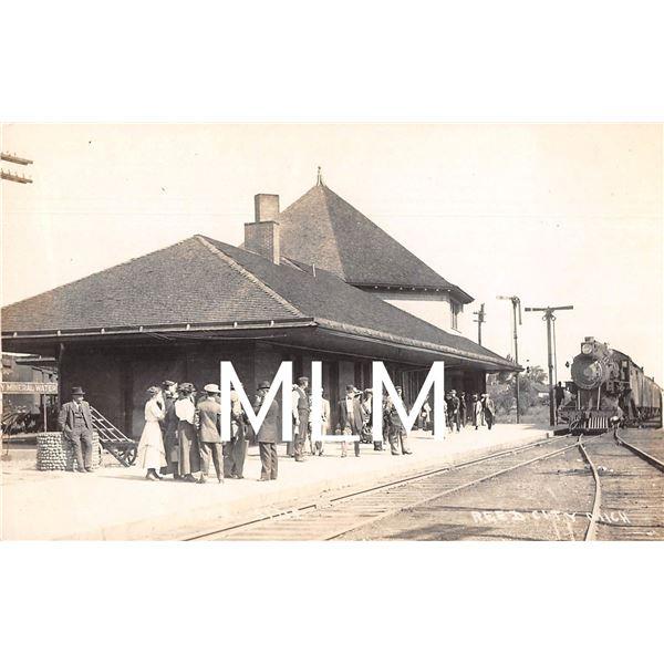 People Waiting at Train Depot Reed City, Michigan Photo Postcard