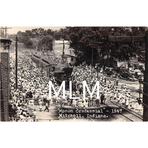 Monon Centennial  1947 Train Mitchell, Indiana Photo Postcard