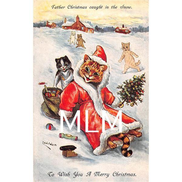 Louis Wain Cat Dressed as Santa Christmas Signed Artist Postcard