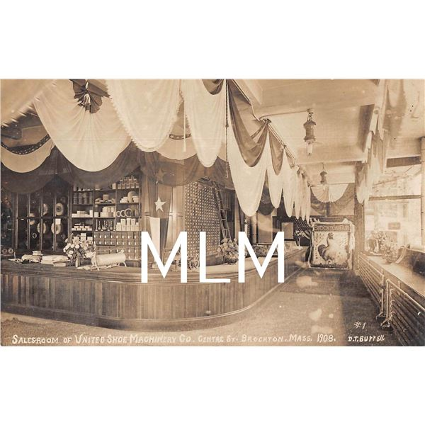 Salesroom Shoe Machinery Co. Brockton, Massachusetts Photo Postcard
