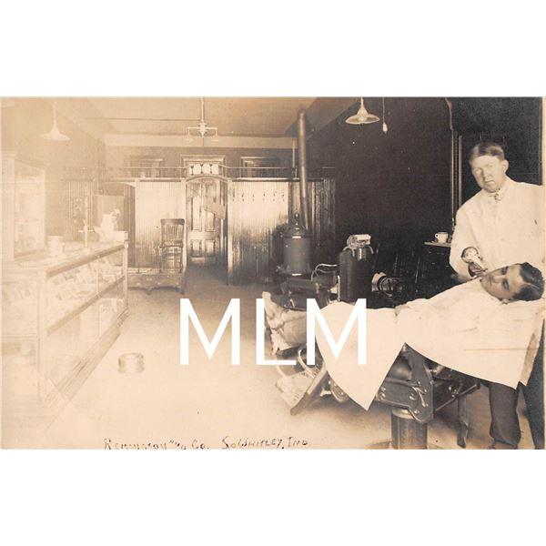 Barber Shop Interior Remington & Co. So. Whitley, Indiana Photo Postcard