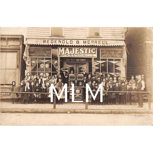 Store Gathering Majestic Range Advertising & Moxie Sign Photo Postcard