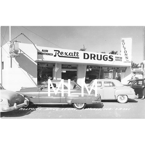 Rolton's Drug Store Front Pahokee, Florida Photo Postcard