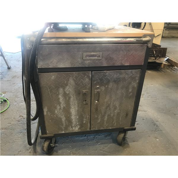 """MASTERCRAFT ROLLING SHOP TABLE 28"""" X 20"""" X 36"""" (CONTENTS INCLUDED)"""