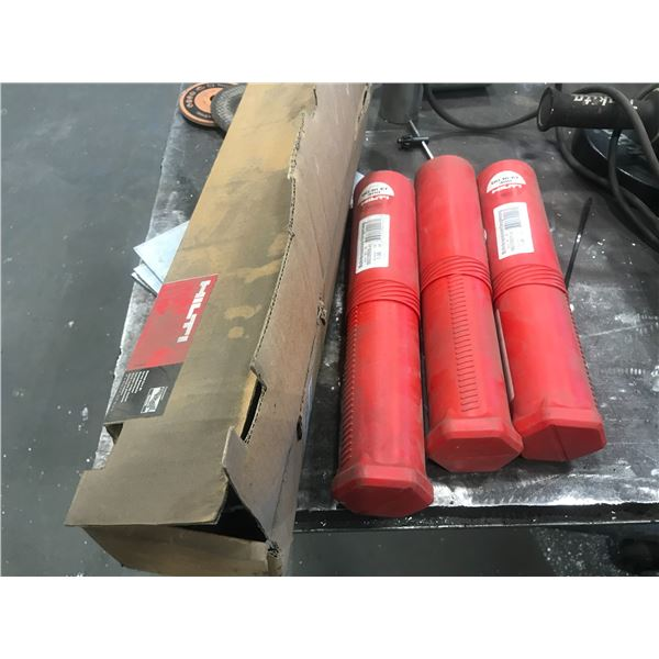 """GROUP OF 4 ITEMS 1 X HILTI CORING BITS 3"""" X 18"""" & 3 EXTENSIONS"""