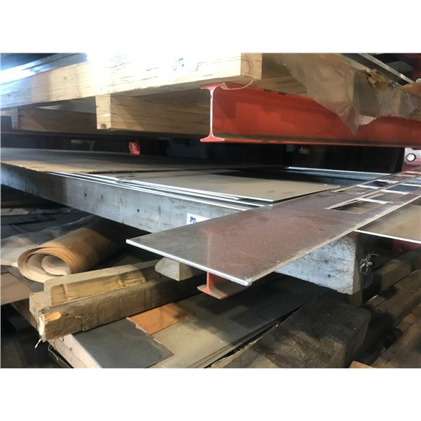 2 SHELVES OF ASSORTED PART SHEETS OF STAINLESS STEEL & TIN