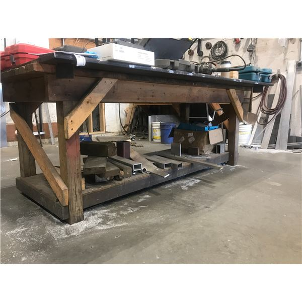 """LAYOUT TABLE WITH WOODEN BASE & 4' X 8' 1"""" METAL TOP & CONTENTS OF BOTTOM SHELF"""