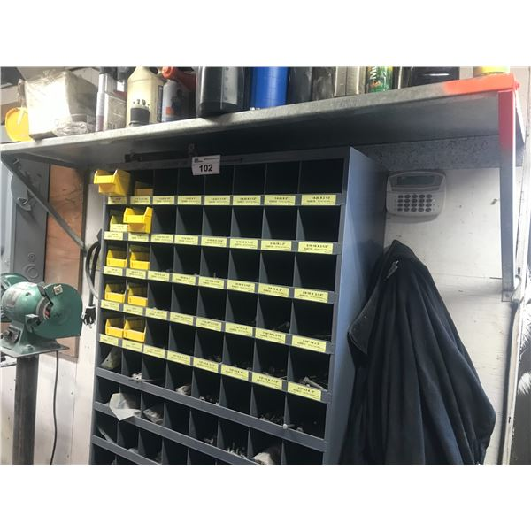 WALL MOUNT RACK OF ASSORTED  NUTS & BOLTS INCLUDES SHELF LOT OF OILS ETC.